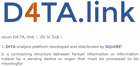 D4TA.link noun D4·TA.·link \dä-t əˈliɳk\  1: a connecting structure between factual information or information output by a sensing device or organ that must be processed to be meaningful 2: D4TA analysis platform developed and distributed by SQU4RE®